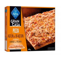 Pizza rectangular Atún y Bacon 600gr.