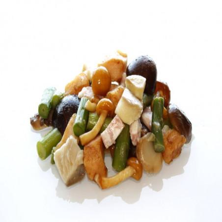 Revuelto setas, pollo, esparragos