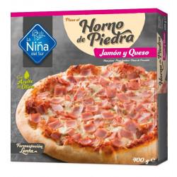 Pizza horno de piedra Jamon y Queso 400gr.