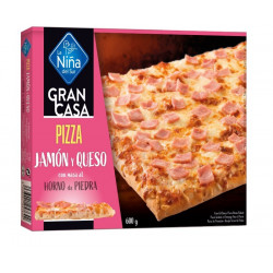 Pizza rectangular Jamón y Queso 600gr.